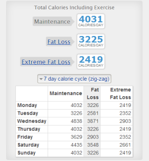 My current calorie estimates based on two workouts a day or very high intensity.