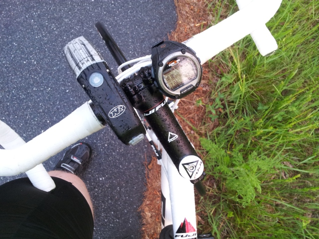 Everything was soaked, this is a picture of my new light and watch used as biking computer.