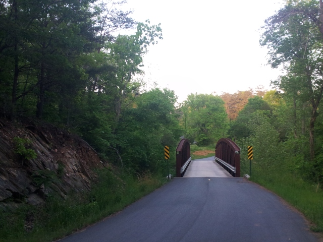 Really cool single lane bridge. Of course there is a climb right behind this.