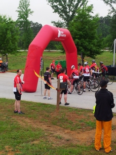 The start line.  Red Riders lead the event off.  This got blown away by the time I finished.