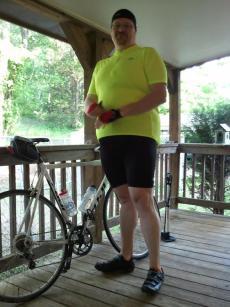 Me and Zero, my bike.  I finally got down to 290 pounds.