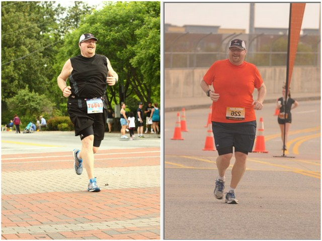 Now and Then.  The left picture was from my last 5k race and the one on the right is from my first 5k race in October.