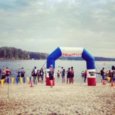 Allatoona triathlon start.  My second and hardest triathlon of the season.