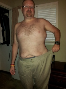 In the beginning of 2012 I weighed 320 pounds and while I did not rely smoke I still relied on an e-cigarette. Back then I wore a 54 inch pant as seen in the current picture.