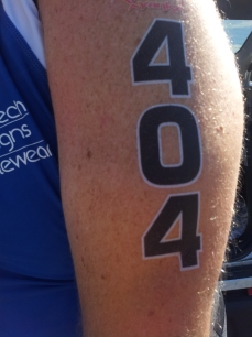 My first race with temporary tattoos.  They look so professional compared to sharpie!