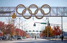 The iconic Olympic rings marking the start of the race and the final land mark before the finish line.