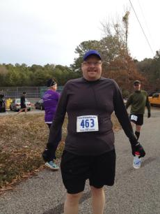 It was cold enough at the start of the race for gloves and long sleeves.
