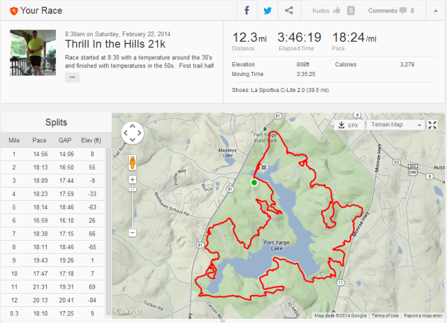 The woods and GPS do not  always work well together.  This was a 13.1 mile race or 21k.