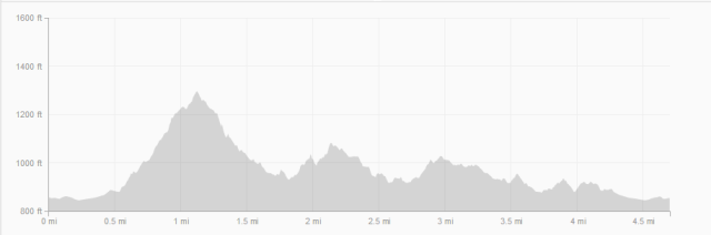 Saturday's  4.5 mile loop elevation.  I did this twice for a total of 9 miles.