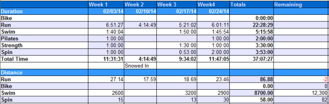 February Totals.  Highlight here is how close to 90 miles for the month I cam in my running program.