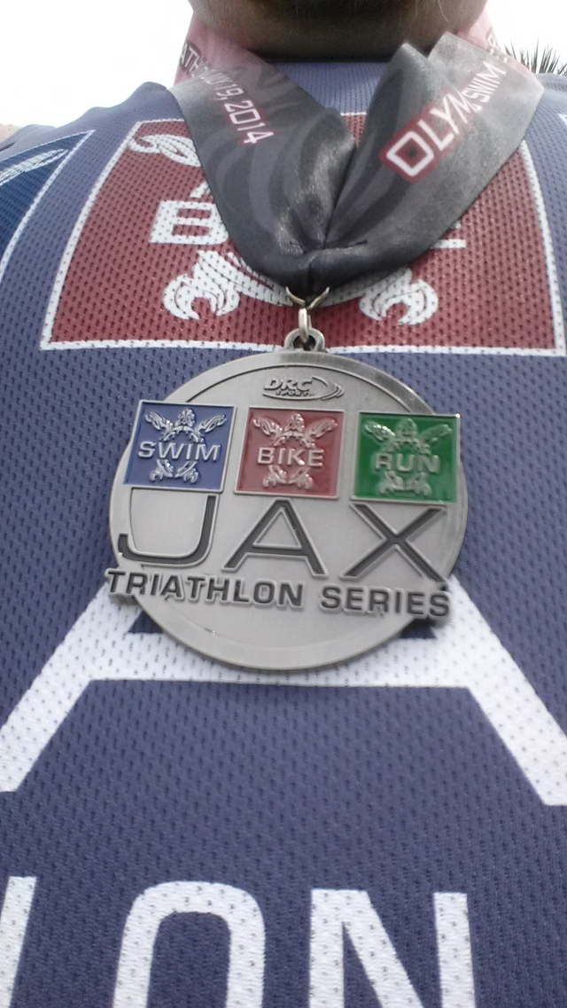 My third place medal.  On the back its marked 3rd and the ribbon has the distances of the race.