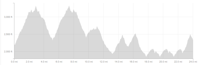 Total elevation profile of my 25 mile run.