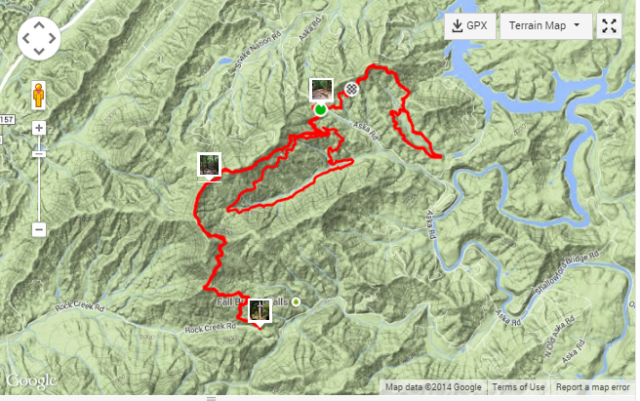 The Aska Trails I ran including the Stanley Gap Trail, Flat Creek Loop and Long Creek Loop trails.