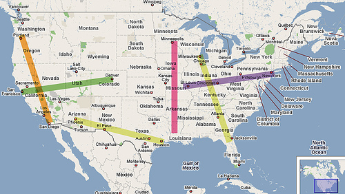 How far 1000 miles would be from different points in the US.