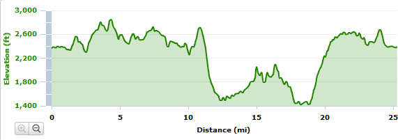 Mystery Mountain Marathon Elevation map.  All trail marathon.  Notice the 2 mile 1000 foot uphill climb at mile 19.  Going to be a long day.