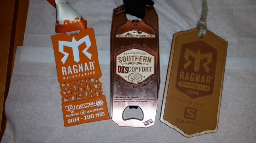 Left to Right: Ragnar Tennessee finisher medal, the special Southern Discomfort Finisher Medal and my Ragnar Atlanta Finisher Medal from earlier in the year.  I put these together as the Tennessee and Atlanta Medals allowed me to get the special double medal. The Tennessee medal is a bottle opener and the double medal has two bottle openers.