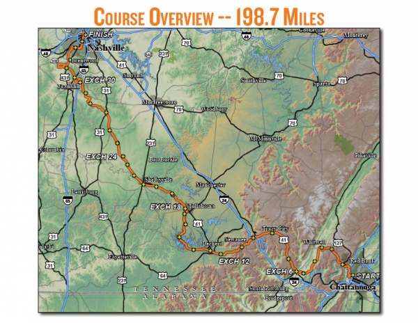 Ragnar Tennessee started in downtown Chattanooga and concluded 198 miles later in downtown Nashville.  Most of this course would wind through small towns and mountainous terrain.