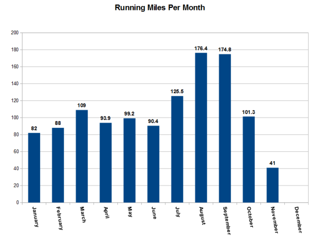 My yearly mileage broken down by month. So far I have ran 1181.5 miles, my 50k this weekend will push me into 1200 miles.