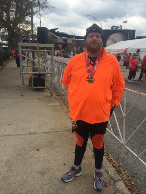 Initially I thought my knee was just tweaked a bit so on Thanksgiving Day I ran the Atlanta Half Marathon, the same one that was my first marathon ever, ,the year before.  My knee felt funny at the start and by the last miles the entire knee was on fire.  This was one of my slowest half marathon finishes.