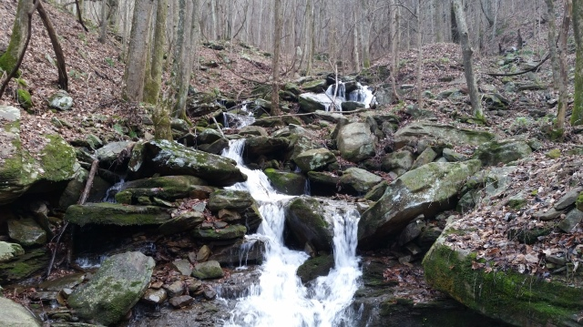 Mile 4, a small waterfall.
