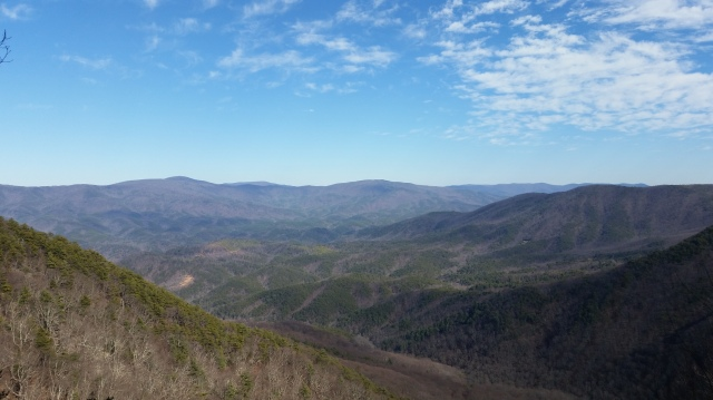 My Saturday lunch spot.  This was after I dropped elevation, then climbed up to this view.