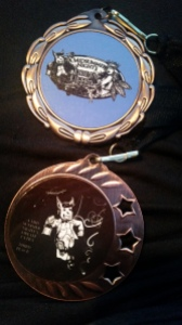 My finishers medal and my 3rd place medal for the 24 hour male division.  There were 5 of us at the start of the race.
