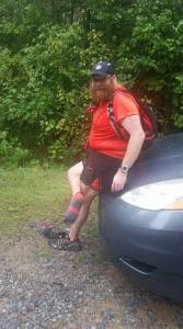 I asked a friends wife to borrow the hood of her van so I could change my socks after crossing the West Aramuchee Creek.