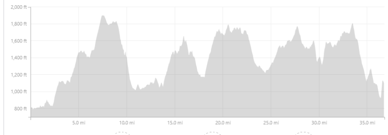 Ga Jewel ultra marathon course elevation